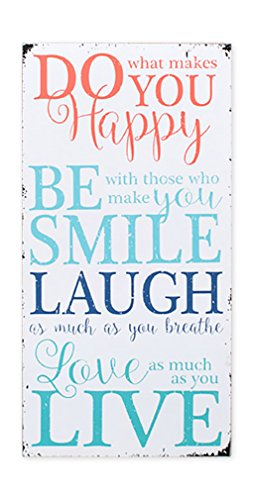Happy Smile Laugh Love As Much As You Live 16 x 8 White Wood Wall Sign Plaque (Laugh Love Wood Live Sign)
