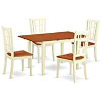 East West Furniture NONI5-WHI-W 5 Piece Dinette Table and 4 Kitchen Dining Chair