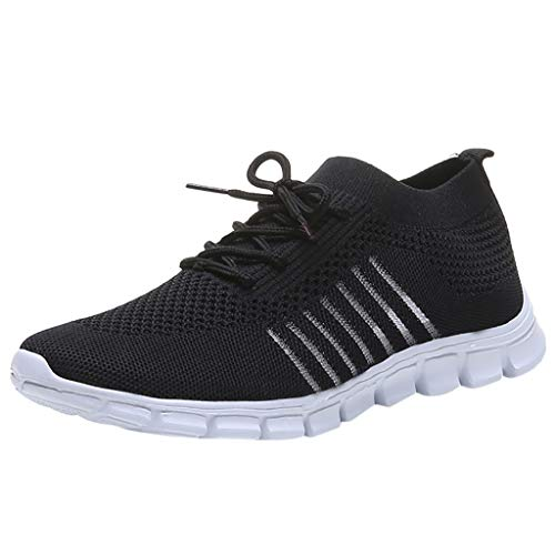 758b9406dc9b3 Londony Women's Athletic Walking Shoes Casual Mesh-Comfortable Work  Sneakers Slip On Air Cushion Lady Girls Black