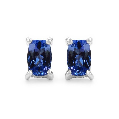 1.00 Carat Genuine Tanzanite .925 Sterling Silver Earrings