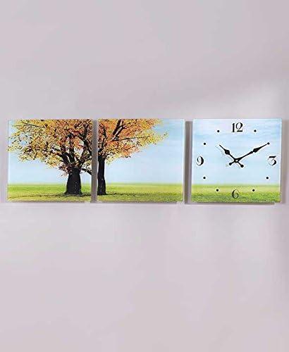 KNL Store 3 Pc Square Glass Panel Clock Autumn Tree Blue Skies Wall Art Set