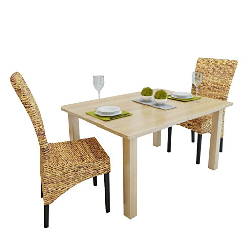 Festnight Set Of 2 Dining Chairs Table Chairs Set Abaca Wood For