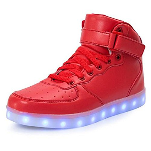 Kids Boy Girl Toddler High Top Led Light Up Flashing Sneakers Shoes shred26 (Nike Light Up Shoes)
