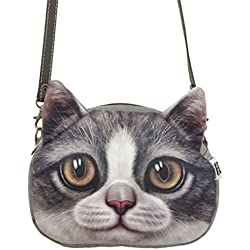 Fakeface Women Girls Vivid Cute 3D Cat Head Face Handbag Leisure Shoulder Bag Lightweight Travel Bag (#118)