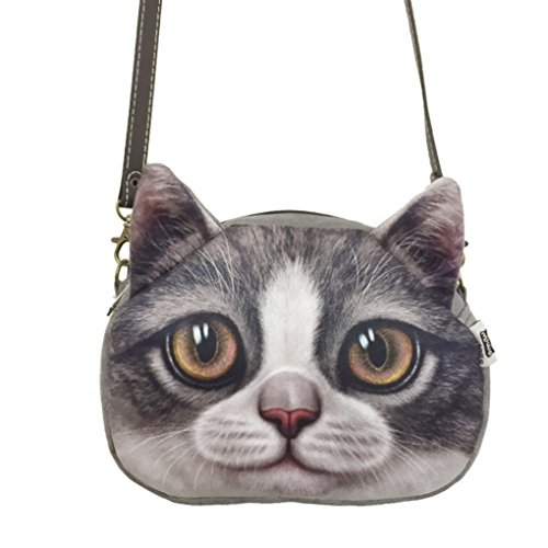 Women Teen Girls Cute Animal Cat Head Face Printing Oval Shoulder Purse Handbag Tote Large Capacity Bag - Girl Oval Face