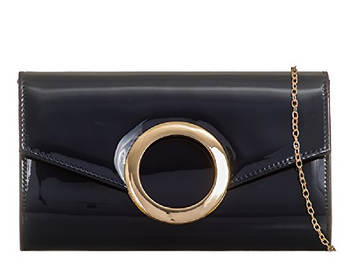 Bag Handbag Clutch Ladies Patent Navy Cocktail Party KZ2032 Envelope Evening EAMUK Women's Bridal w1HZTU