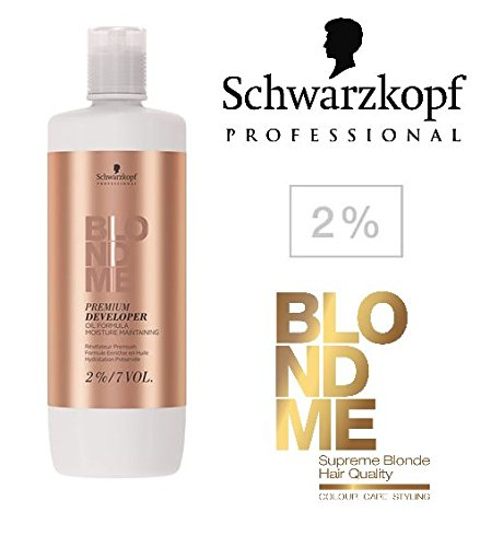 Schwarzkopf Professional Blonde Me Premium Developer Oil Formula (with Sleek Tint Brush) 33.8 oz / 1000ml (2% ; 7 Volume) by Blond Me by Schwarzkopf