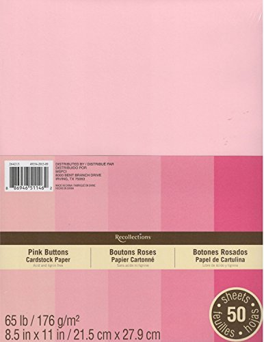 (Recollections Cardstock Paper, 8 1/2 X 11 Pink Buttons - 50 Sheets)
