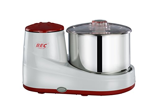 B E C ABS Stainless Steel Plus 2L Tabletop Wet Grinder (White & Red)