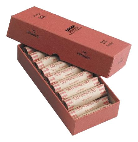 MMF Industries Chipboard Coin Storage Box for Pennies, 10 Dollar Capacity, Red (211040107)