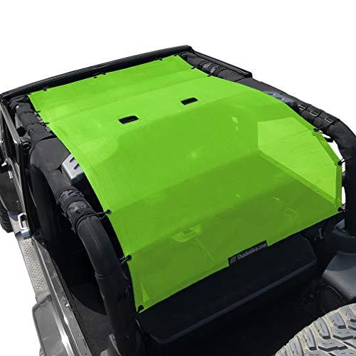 Shadeidea Jeep Wrangler Sun Shade JK 2 Door Front+Rear+Truck-Green FullLength Mesh Screen Sunshade JK Full Top Cover UV Blocker with Grab Bag-One time Install 10 years Warranty
