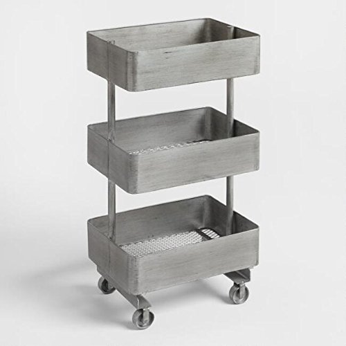 3 Tier Rolling Cart Metal Utility Shelf Cart for Shabby Chic Rustic Decor for Wine Plant Kitchen Groceries Office Bar No Assembly Required