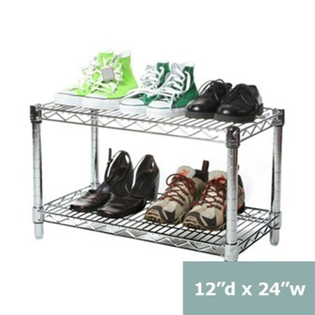 """Review 12""""d x 24""""w Chrome Wire Shelving with 2 Shelves By Shelving Inc by Shelving Inc"""