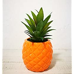 "Artificial Potted Succulent 7.8"" Pineapple Home Deco Tabletop Decoration (Orange)"
