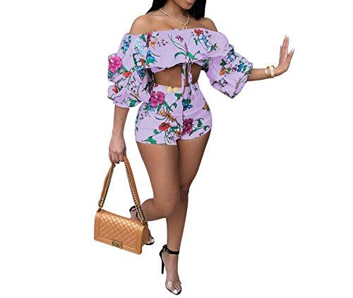 BANLAN Women Sexy 2 Piece Print Jumpsuits Off Shoulder Ruffle Crop Top Short Pants Set Outfits