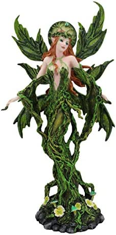Ebros Elemental Earth Gaia Forest Green Roots and Vines Crown Fairy Statue Decorative Mythical Fantasy Magic Garden Fairies Figurine Collectible