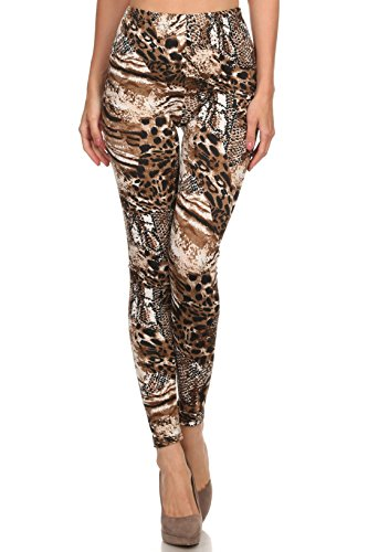 ICONOFLASH Women's Velour Full Length Cold Weather Legging, (Natural Mixed Leopard, One Size)