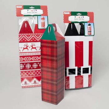 """Set of 3 - 3.25""""x3.25""""x12.5"""" Wine Bottle Gift Boxes - Reusable Caddy - Easy to Assemble - No Glue Required - Perfect for the Holidays!"""