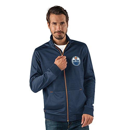G-III Sports NHL Edmonton Oilers Men's Progression Full Zip Track Jacket, Small, Navy (Nhl Mens Shop Clothing)