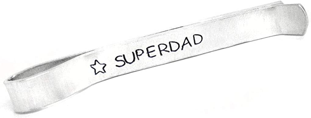 Foxwise Superdad - Hand Stamped Aluminum Father's Day Tie Bar, Dad Gift