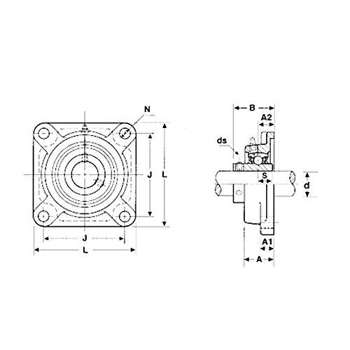 2x UCF205-16 1'' Square 4 Bolt Flange Bearing by Volar Motorsport, Inc (Image #1)