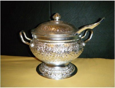 Thai Rice Silver Aluminum Server/Tureen Set by Sandeko