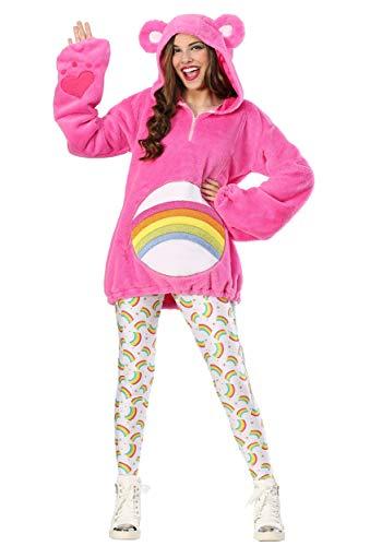 Care Bears Women's Deluxe Cheer Bear Hoodie Costume Medium Pink -