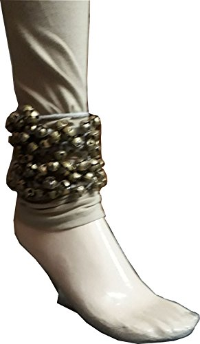 KVR Kathak Bharatnatayam Indian traditional dance anklets brass bells ghungharoo, 100 bell tied over cotton string for comfortable performance (100 Bell on string, Natural) by KVR