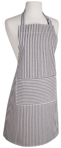 Now Designs Basic Cotton Kitchen Chef's Apron, Narrow Stripe Black