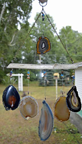 wind chime mobile Agate geode windchime Lake Superior Driftwood Ambers and gray with Multi color accent stones sun catcher wind chime window decor hanging by Riverstone Gallery