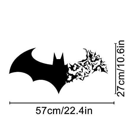 Woodland Arts 22' w x 11' h Bats Silhouette Halloween Spooky Cemetery Bats Witch Wall Decals Window Stickers Decorations for Kids Rooms Nursery Halloween Party