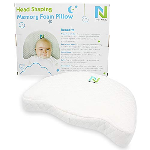 Flat Head Baby Pillow|Newborn Head Shaper & Positioner|Cotton Pillowcase Breathable Material|Ergo Pillow w/Firm Memory Foam|Kids/Toddler Head Support|Anti Flathead/Torticollis Prevention & Correction