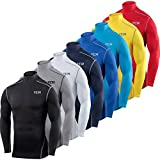 TCA Men's & Boy's Pro Performance Compression Shirt Long Sleeve Base Layer Thermal Top - Crew/Mock Neck
