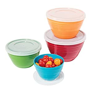 Oggi Melamine Prep Bowls with Lids (Set of 4), Multicolor