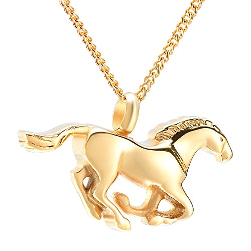 - Animal Running Horse Cremation Urn Necklace Ashes Keepsake Pendant Memorial Jewelry+Fill Kit (Gold)