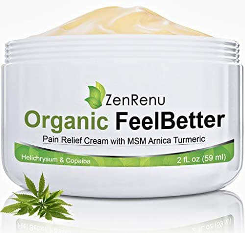 Organic Pain Relief Cream by ZenRenu - MSM Turmeric Arnica, Helichrysum | Made in USA - Muscles, Joints, Back, Neck & Skin Conditions
