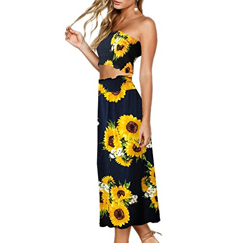 (YISHIWEI Women's Sunflower Floral Crop Top Maxi Skirt Set 2 Piece Outfit Dress (Blue, x-Large))