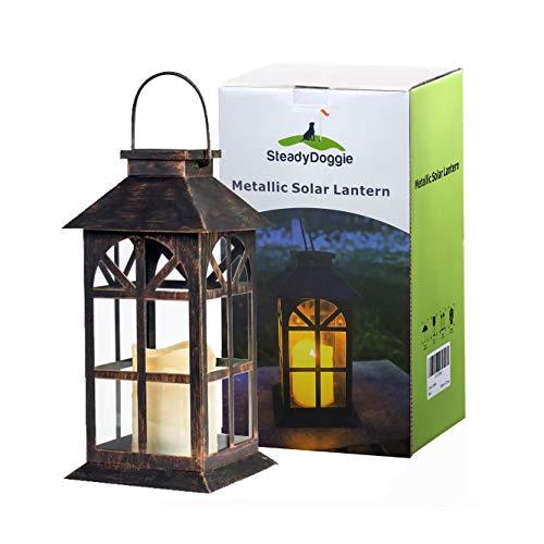 Solar Lantern Decor Antique Metal Glass Construction Estate Mission Indoor and Outdoor Lantern