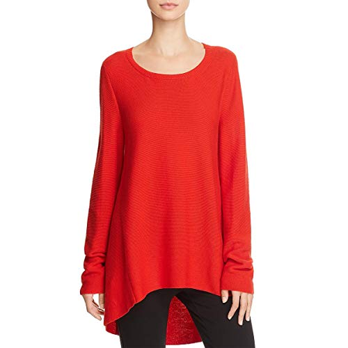 Eileen Fisher Petite Sweater - Eileen Fisher Womens Petites High Low Round Neck Tunic Sweater Red PL