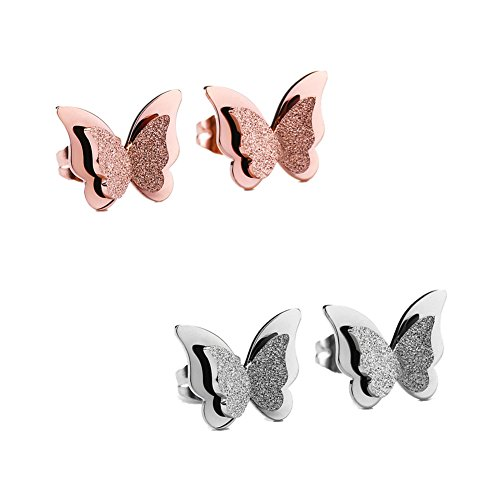 Jewelry Stainless Frosted Butterfly Earrings