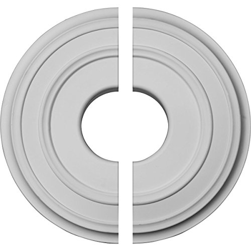 Ekena Millwork CM12CL2 12 3/8 OD x 4 ID x 1 1/8 P Classic Ceiling Medallion, Two Piece (Fits Canopies up to 7 1/4), Factory Primed White