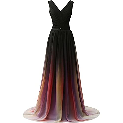 JAEDEN Gradient Chiffon Formal Evening Dresses Long Party Prom Gown Black Two US16W