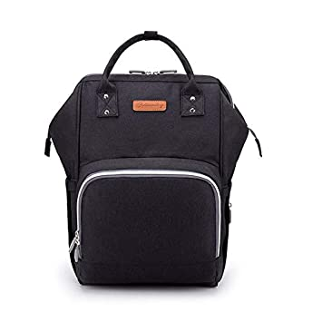 a18fdaa70f05 Amazon.com   ANKOMMLING Diaper Bag Mummy Bag Large Capacity Fashional Bag  with USB Cable Multicolors (Black)   Baby