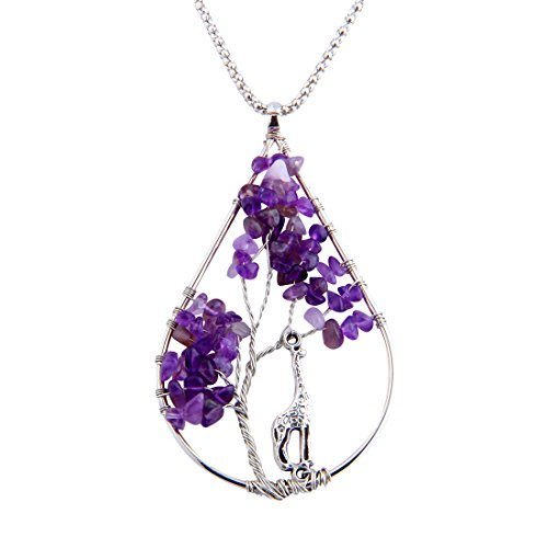 ZUOBAO Handmade Wire Wrapped Quartz Chips Life Tree Teardrop Pendant Necklace with Giraffe / Healing Jewelry Gift for Family (Amethyst)