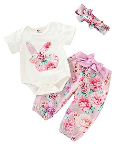 (EGELEXY Easter Rabbit Baby Girls Clothes Sets Summer Cotton T-Shirt Tops Pants 2PCS Size 12-18Months/Tag90 (Floral))