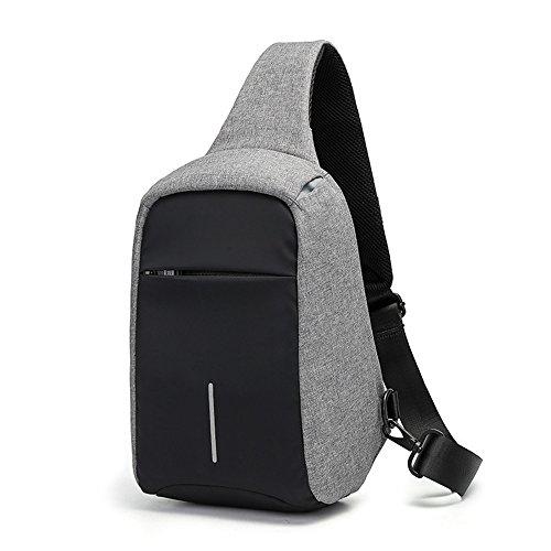 Tanchen Sling Bag Crossbody Hiking Trekking Sports Street Travel Portable Business Chest Pack for Men & Women (Grey) (Street Sling)