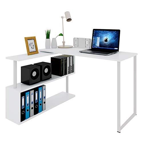 WOLTU Mesa De Ordenador Escritorio Puede Girar El Angulo Mesa De Trabajo PC Mesa Portátil Con Estantes 120x100x74cm…