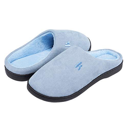 IKENIP Womens Memory Foam Slippers Cozy Anti-Slip Indoor House Shoes Light Blue