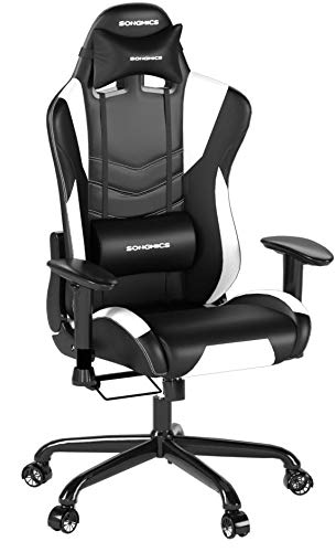 SONGMICS Racing Sport Chair Gaming Chair High-back Computer Chair with the Headrest and Lumbar Support Black+White URCG12W Songmics