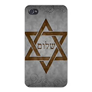 Apple Iphone Custom Case 4 4s Plastic Snap on - Star of David w/ Hebrew Writing
